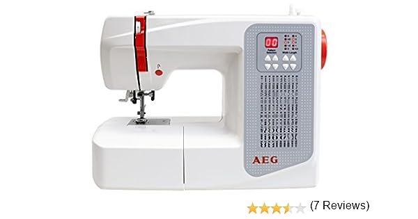AEG - Máquina de Coser, plástico/Metal, plástico/Metal, weiß/Rot/Grau, 37.5 x 15 x 30.5 cm: Amazon.es: Hogar