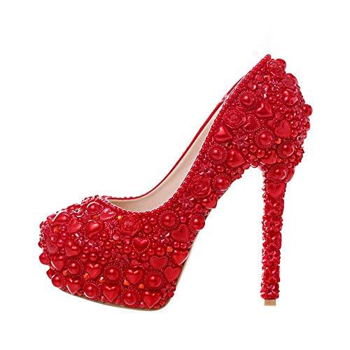 Alti Rosso Modello Mamma Di Tacchi Perla Cuore Forma Del Di Il Partito Per Scarpe Corrispondenza Da Sposa Promenade Vestito A Da Sposa q4twIg11