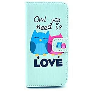 SHOUJIKE Two Owls Pattern PU Leather Cover with Stand and Card Slot for iPhone 6 Plus