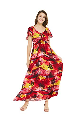 Women's Hawaiian Maxi Ruffle Sleeve Dress Sunset Red