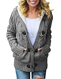 Women Button Up Cardigan Knit Hooded Cable Sweater Coat Outwear