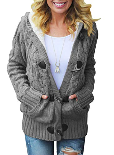 Sidefeel Women Button Up Cardigan Hooded Sweater Coat Outwear with Pockets X-Large Grey (Coat Faux Fur Toggle)