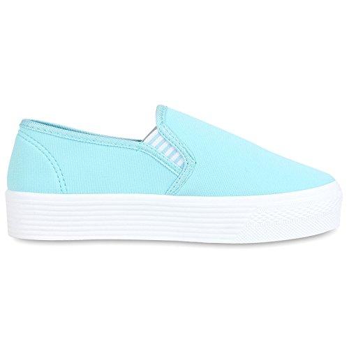 Modische Damen Sneakers | Bequeme Slip-ons| Funkelnde Glitzerapplikationen | Angesagte Plateausohle | Gr. 36-41 Himmelblau Weiss