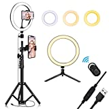 10.2 inch Selfie Ring Light with Tripod Stand & Cell Phone Holder for Live Stream/Makeup  QI-EU Mini Led Camera Ringlight for YouTube Video/Photography/Tiktok Compatible with iPhone and Android Smartphone