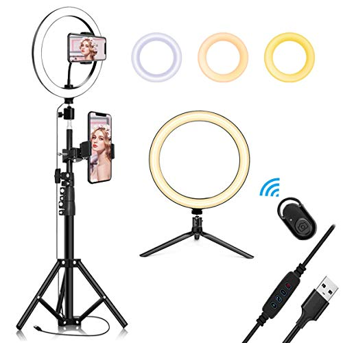 """10.2"""" Selfie Ring Light with Tripod Stand & Cell Phone Holder for Live Stream/Makeup, QI-EU Mini Led Camera Ringlight for YouTube Video/Photography Compatible with iPhone Xs Max XR Android"""