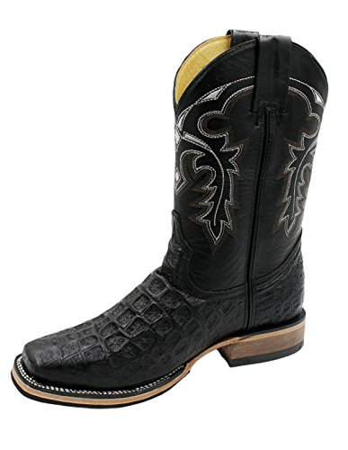 Men cowboy boots Genuine Cowhide Leather Crocodile Print Rodeo Boots_Black-10.5