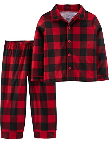 Simple Joys by Carter's Boys' Toddler 2-Piece Coat Style Pajama Set, Buffalo Check, 3T