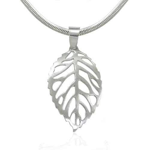 925 Sterling Silver Nature Inspired Shiny Cut-Out Leaf Pendant on Alloy Necklace Chain, 18 - Out Inspired Cut