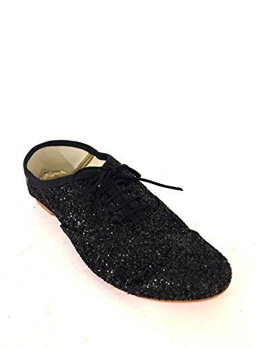 Francesine Glitter v543Bailarinas con I cordones tacón bajo Bronce mainapps negro