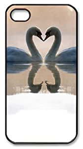 iphone 4 case customize Swan couple PC Black for Apple iPhone 4/4S