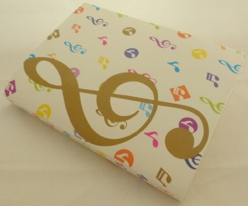 Display Softcover Book (Music Themed 20 Pockets Plastic Folder Display Book Soft Cover - White Cover Colourful Gold Treble Clef Design)