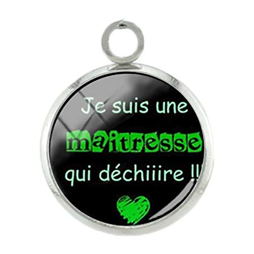 (Pendants -1Pc French Thanks Mother Teachers Pendants Charms Fashion Silver Plated 12Mm Glass Handmade DIY Gift Special Jewelry Je01 - Je12)