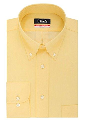 (Chaps Men's Regular-Fit Wrinkle Free Herringbone Twill Dress Shirt (17-17.5 36/37 Sleeve, Yellow))