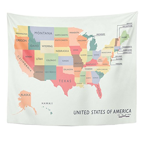 Emvency Tapestry United Colorful USA Map Name of States Washington Alabama Home Decor Wall Hanging for Living Room Bedroom Dorm 50x60 Inches (Washington Wall Covers)