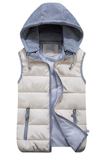 Chaleco blanco Slim Full Chaqueta Fit Acolchada La Up Zip Es Mujer Elegante Hoodie Acolchado Chaleco xTav6