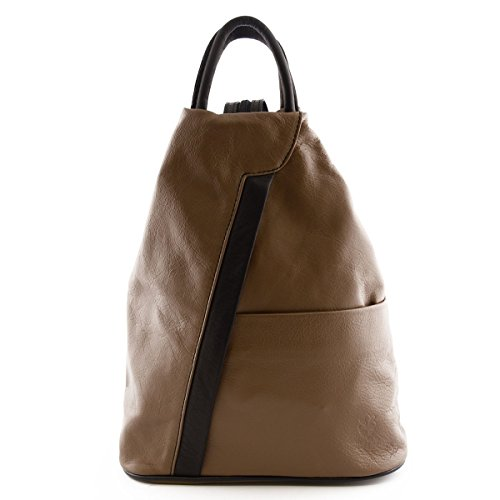 Woman Leather Backpack Color Dark Taupe Black - Made In Italy Genuine Leather Goods by Dream Leather Bags