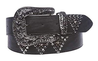 Western Cowgirl Rhinestone Studded Leather Belt