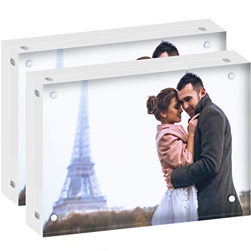 DEKIRU Acrylic Picture Frames - 5x7 (2 Packs) - 24mm Thick, 20% Thicker • Magnetic Photo Frames • Frameless Desktop Picture Frame • Floating Acrylic Frames • Grade AAA Clear Acrylic Block Frame (Block Photos Glass)