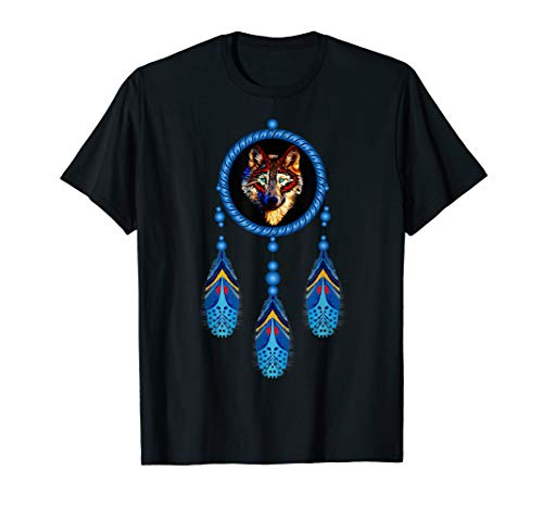 Native American Timber Wolf Dream Catcher Tribal T-Shirt ()