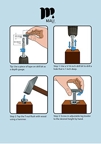 (8-Pack) DIY Adjustable Leg Leveler Glide with a Plastic Base T-Nut Also Included-Try This Furniture Leveler/Floor Protector for Tables, Chairs, cabinets, Work Benches, etc. by Mali Hardware Supply by Mali Supply, LLC (Image #3)