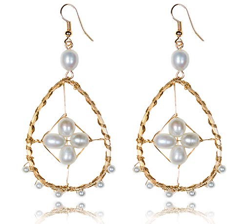 KissYan Handmade Pearl Dangle Drop Earrings Copper Wire Weaving Hollow Geometric Statement Earrings for Women Girls (02 - Handmade Pearl Dangling Earring