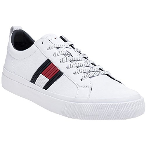 Detail Trainers - Tommy Hilfiger Flag Detail Sneaker Mens Trainers White Navy Red - 41 EU