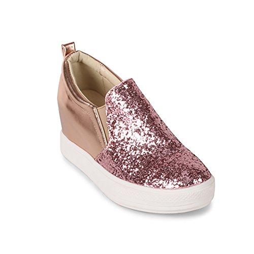 Zapatos Deseados Zapatillas Iluminadas Para Mujer Con Cuña Y Purpurina Rosa Dorada