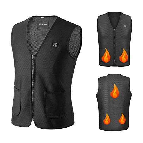 The perseids Electric Heated Vest Washable USB Rechargable Winter Body Warmer Insulated Heated Waistcoat for Senior Women Men Outdoor Sports Lovers(Large)