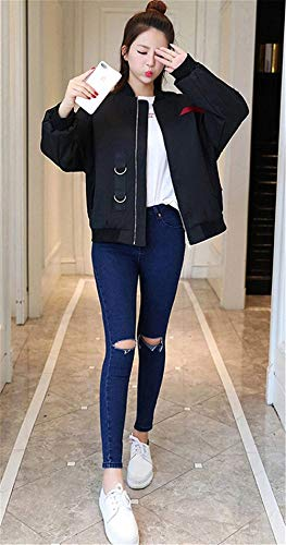 Digitale Cerniera Maniche Autunno Sportivo Giovane Ragazze Giaccone Con Cappotto Elegante Outwear Moda Primaverile Stampato Cordoncino Donna Unico Baseball Grazioso Nero Stlie Outerwear AgOqgB