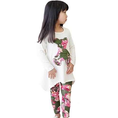 Urparcel Girls T-shirt Long Sleeve Irregular Tops Flower Leggings Pants Sets