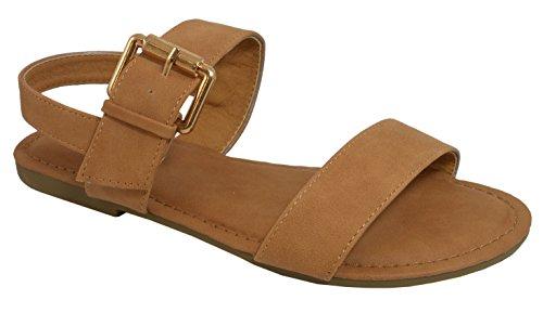 Cambridge Selezionare Donna Open Toe 2 Cinturino Grande Fibbia Sandalo Flatback Tan Nbpu