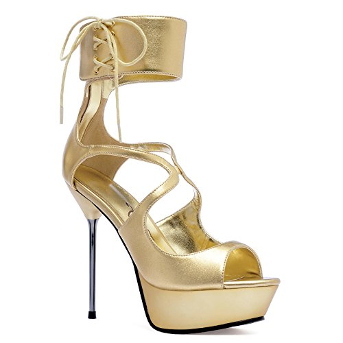 Ellie Shoes Metallic Heels - Ellie Shoes Women's 5 inch Metallic Stiletto Heel Platform Sandal (Gold PU;7)