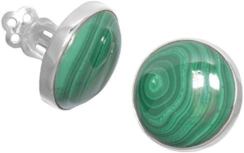 ERCE malaquita piedra semipreciosa pendientes clip redondos, plata de ley 925