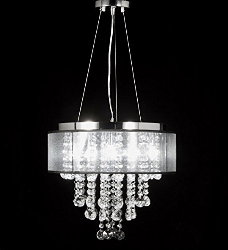 Top Lighting Chrome Finish Translucent Black Shade 9-light Crystal Chandelier Pendant Hanging Ceiling Lamp