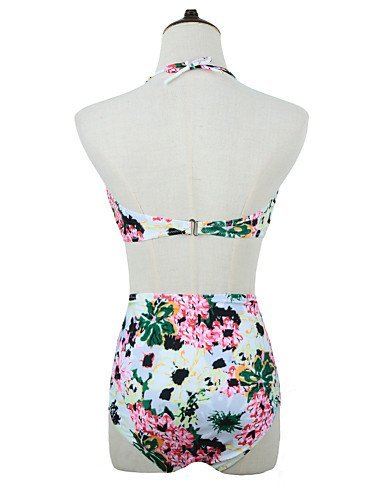 ZQ Halter con lazo y flores de la mujer Wireless acolchada Bikini Top Bottom Bañadores, green-xl, medium green-s