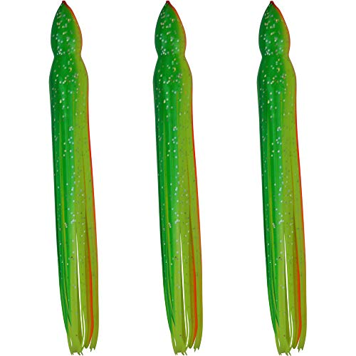(Squid Skirts - No Eyes - 3 Pack - Green & Yellow with Orange Stripe - 8.5