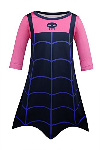 Cotrio Girls Vampire Nightgowns Shirts Halloween Costume Dresses Cosplay Outfit Toddler Kids Birthday Party Supplies Dress Up Size 8 (7-8Years, Pink, 130)