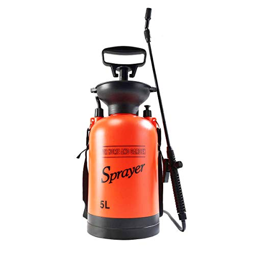 Homeself 5L Garden Pressure Sprayer, 1.3 Gallon Pump Action Lawn, Yard Pressure Sprayer Compressor with Shoulder Strap for Lawn and Garden Insects and Weed Killer, Wash The Car (5L) ()