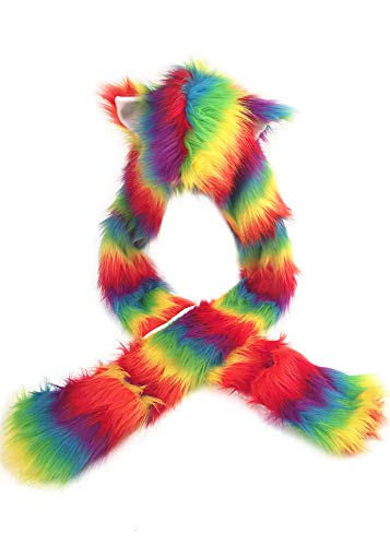 Ababalaya Womens Cute Rainbow Unicorn Fur Hood Hat Scarf Cosplay for Christmas Halloween,Multi02