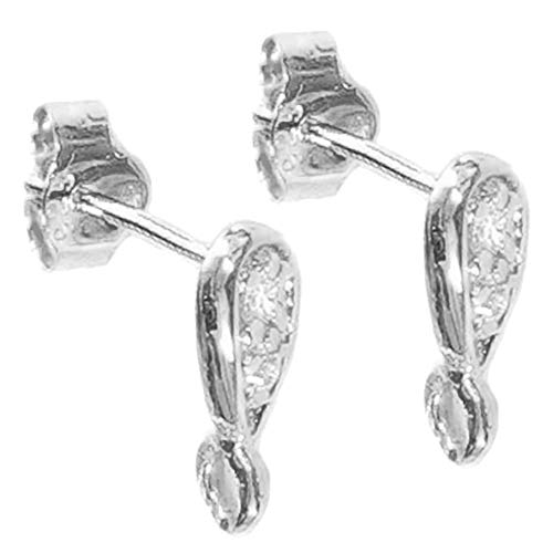 4 pcs / 2 pair .925 Sterling Silver Clear Cz Crystal Stud Loop Post Dangle Earring Connector W/Clutches/Earnut/Findings/Bright