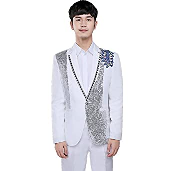 39efb89af76 MY S Men s G-Dragon Bling Sequins Party Tuxedo Suit and Pants Set White ...