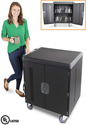 Line Leader 32 Device Smart Charging Cart, Mobile Lab Holds 32 Tablets, Chromebooks or Laptops with up to 15.6 Inch Display, Built in Cord Management, Locking Cabinet, Comes Fully - Carts Line