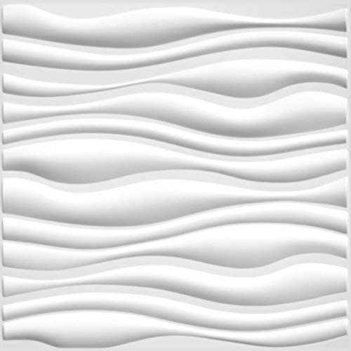 (Easy Peel & Stick, Durable Plastic Textured Decorative 3D Wall Panel - GAPLESS Serene Design. 12 Panels. 32 SF )