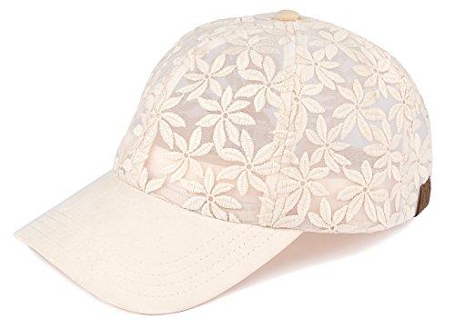 H-6053-60 Floral Print Baseball Cap - Sheer Daisy (Beige)
