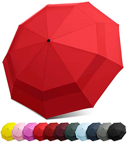 EEZ-Y Compact Travel Umbrella w/Windproof Double Canopy Construction - Auto Open/Close - Umbrella Manual
