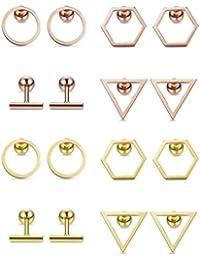Stainless Steel 8 Pairs Helix Cartilage Studs Earrings Set Barbell Ear Piercing for Men Women