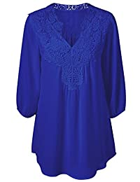Women Summer V Neck Half Sleeve Pleated Lace Chiffon Shirt Tops Tee Plus Size