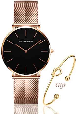 b1be8a11139 Women's Rose Gold Watch Analog Quartz Stainless Steel Mesh Band Casual  Fashion Ladies Wrist Watches with