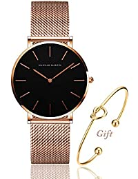 Womens Rose Gold Watch Analog Quartz Stainless Steel Mesh Band Casual Fashion Ladies Wrist Watches with