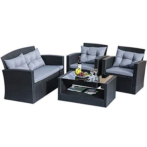 Merax Outdoor Furniture Patio Furniture Set – 4-Piece Wicker Patio Furniture with Weather  ...